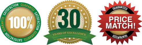 Customer Satisfaction Garauntee, Price Match Garauntee, 30 Years of Excellence