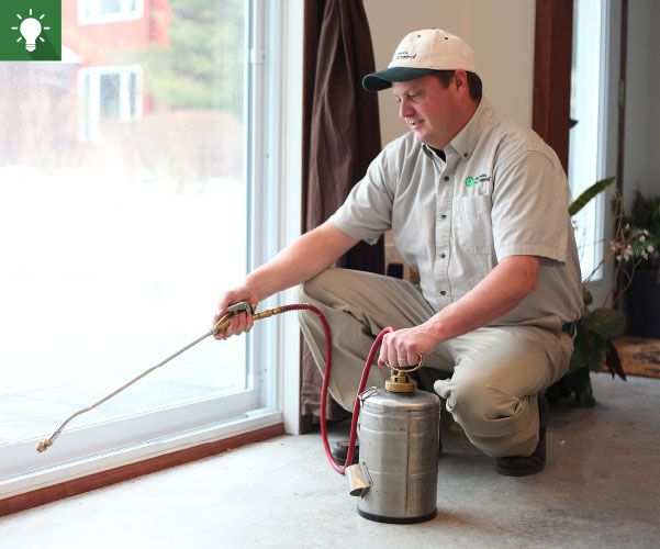 A professional exterminator in Environmental Pest Control's grey uniform applying a treatment to a home