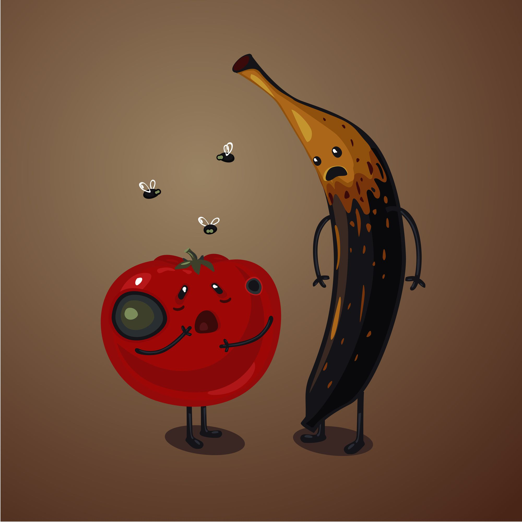 a rotten apple and banana surrounded by fruit flies